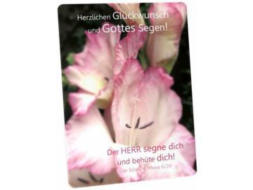 Christliche Glückwunschkarte - Postkarte: Gladiolenblüten
