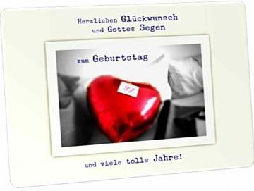 Christliche Glückwunschkarte - Postkarte: Roter Ballon