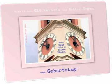 Postkarte Geburtstag, christlich: Kirchturmuhren