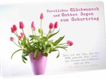 Christliche Postkarte - Geburtstag: Vase mit Tulpen