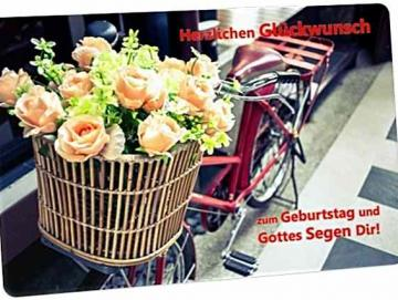 Postkarte Geburtstag: Blumenstrauß im Fahrradkorb - Vintage Style