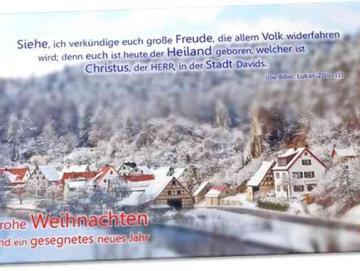 Christliche Weihnachtskarte: Verschneites Dorf