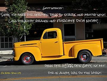 Christliches Poster A2 : Gelber Pickup-Oldtimer