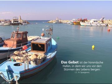 Christliches Poster A2 : Fischerhafen auf Zypern