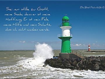 Christliches Poster A2 : Leuchtturm Warnemünde