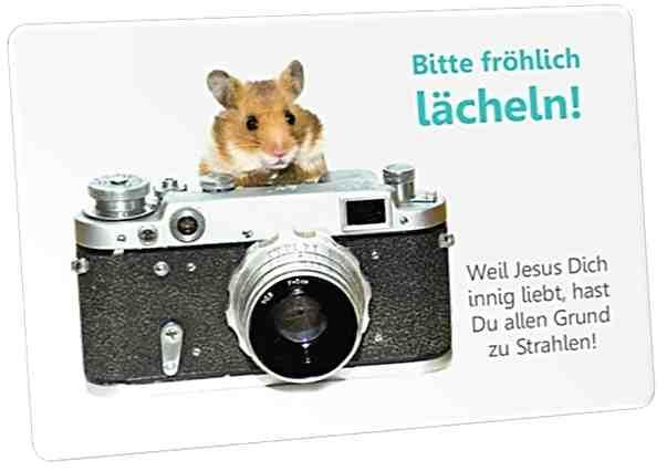 Christliche Postkarte: Hamster mit Fotoapparat - mit Ermutigungstext