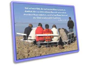 Christliche Karte: Beter am Nordseeufer