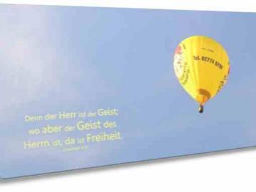 Christliche Postkarte lang - Gelber Heißluftballon - Maxicard