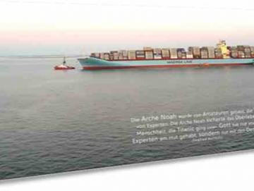 Christliche Postkarte, lang - Containerschiff - Maxicard
