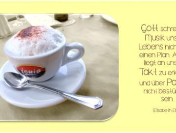 Christliche Postkarte, lang - Cappuccino-Tasse - Maxicard
