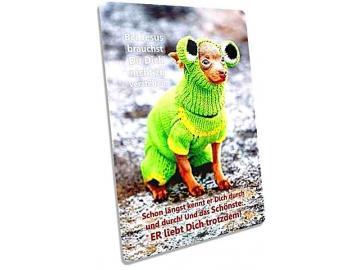 Christliche Postkarte: Hund in voller Strickmontur - Karte zur Ermutigung