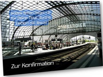 Christliche Konfirmationskarte - Berliner Hauptbahnhof - Klappkarte
