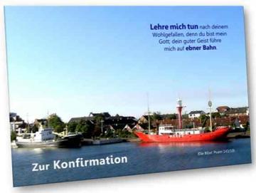 Christliche Konfirmationskarte - Feuerschiff Weser - Klappkarte