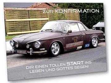 Christliche Konfirmationskarte - Youngtimer Karmann Ghia