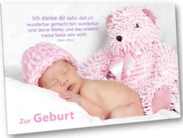 Christliche Geburtskarte: Baby mit Teddybär