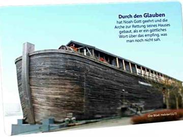 Christliche Postkarte: Nachbau der Arche Noah  - Mit Bibelvers: Hebräer 11,7