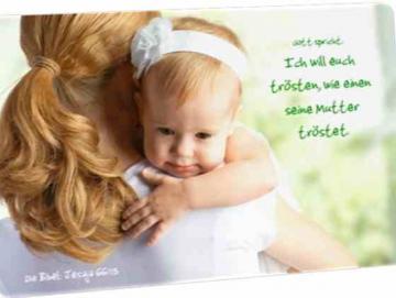 Christliche Postkarte: Mutter und Tochter - Jesaja 66,13