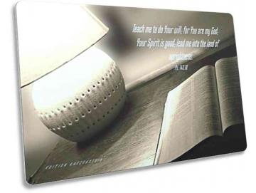 Christliche Postkarte, englisch - Open Bible on a table