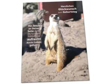 Christliche Geburtstagskarte: Aufrecht stehendes Erdmännchen