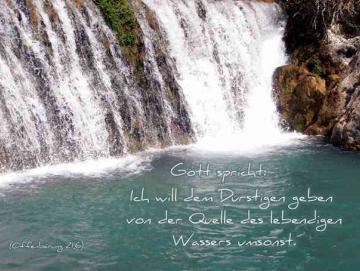 Plakat A4 - Wasserfall - Jahreslosung 2018