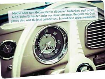 """Christliche Postkarte: Armaturenbrett VW Käfer"""" - Zitat von Hans Peter Royer"""