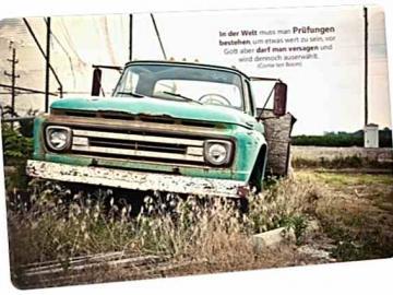 Christliche Postkarte: Pick-up Oldtimer - Mit ZItat von Corrie ten Boom