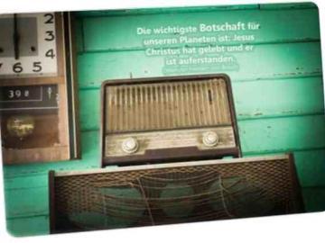 Christliche Postkarte: Altes Radio - Zitat von: Werner Freiherr von Braun