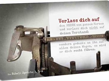 Christliche Postkarte: Blatt Papier in antiker Schreibmaschine