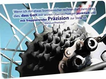 Christliche Postkarte: Zahnkranzpaket von Fahrradschaltung - Zitat von Helmuth Thielicke