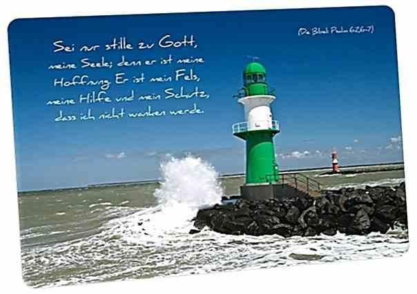 Christliche Postkarte: Leuchtturm Warnemünde - Mit Bibelvers: Psalm 62,6-7