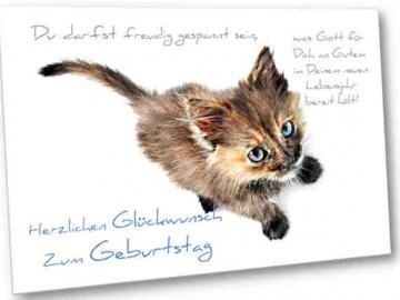 Christliche Geburtstagskarte: Schwarz-rotes Kätzchen - mit Bibelvers  Jesaja 12,2 und Briefkuvert