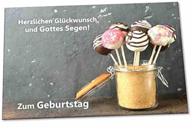 Christliche Geburtstagskarte: Schokoladenlutscher