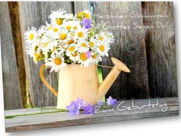 Christliche Geburtstagskarte: Gießkanne mit Margeriten - mit Bibelvers Habakuk 3,18