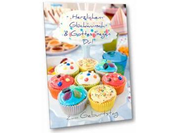 Christliche Geburtstagskarte: Bunte Brownies - Faltkarte mit Briefkuvert