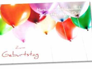 Christliche Geburtstagskarte: Bunte Luftballons