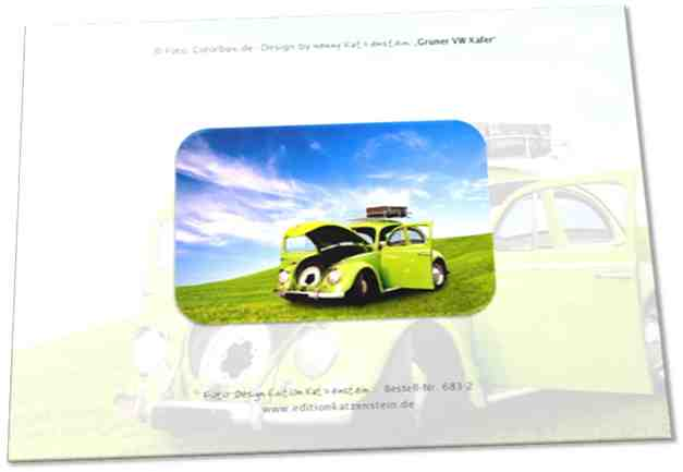 Christliche Geburtstagskarte: Grüner VW Käfer - Klappkarte mit Bibelvers Psalm 37,5