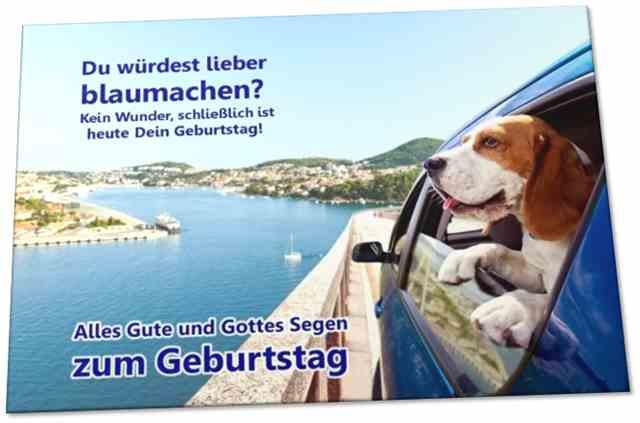 Christliche Geburtstagskarte: Beagle schaut aus Autofenster - Klappkarte DIN A6