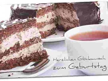 Christliche Geburtstagskarte: Tortenstück mit Tasse Tee