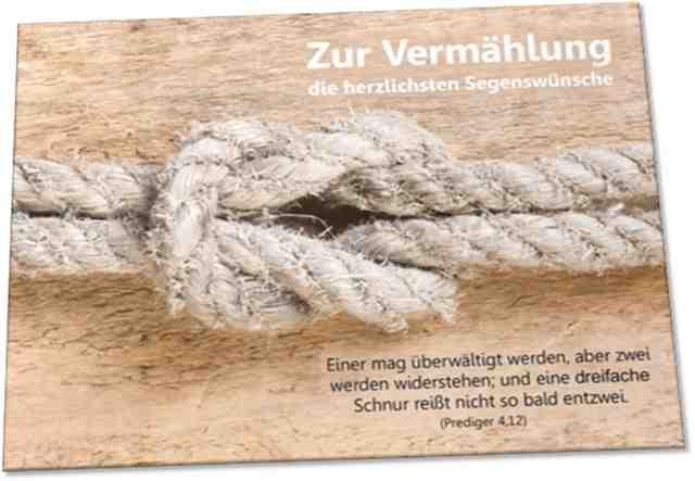 Christliche Hochzeitskarte - Motiv: Taue mit Kreuzknoten