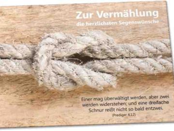 Christliche Hochzeitskarte - Motiv: Taue mit Kreuzknoten - Bibelvers: Prediger 4,12