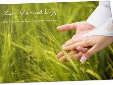 Christliche Hochzeitskarte - Motiv : Hände eines Brautpaares - Vermählungskarte