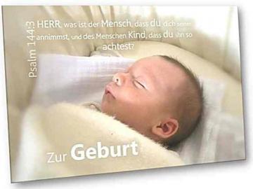Christliche Geburtskarte: Schlafender Säugling - Faltkarte zur Geburt