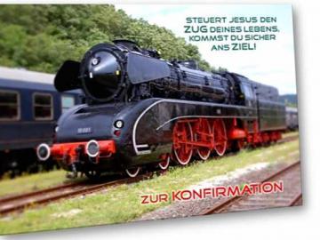 Christliche Konfirmationskarte: Dampflokomotive - Klappkarte DIN A6 mit Kuvert
