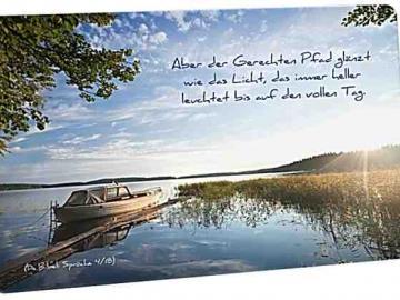 Christliche Postkarte: Verträumtes Seeufer - Mit Bibelvers: Sprüche 4,18
