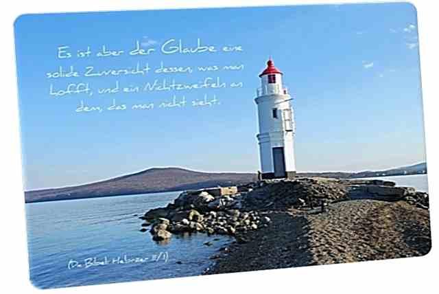 Christliche Postkarte: Weißer Leuchtturm - Mit Bibelvers: Hebräer 11,1