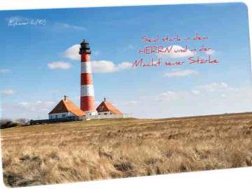 Christliche Postkarte: Leuchtturm Westhever - Mit Bibelvers: Epheser 6,10