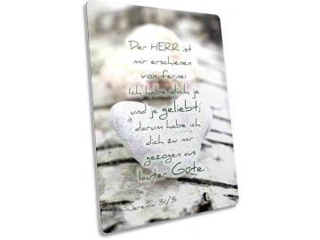Christliche Postkarte Motiv: Kieselstein in Herzform