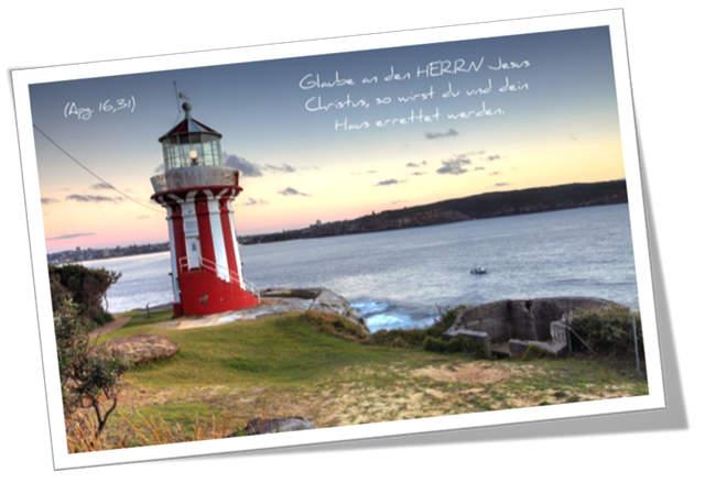 """Christliche Postkarte: Rot-weißer Leuchtturm""""- Mit Bibelvers: Apg. 16,31"""