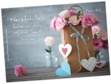 Kühlschrankmagnet, christlicher  - Papiertüte mit Rosen