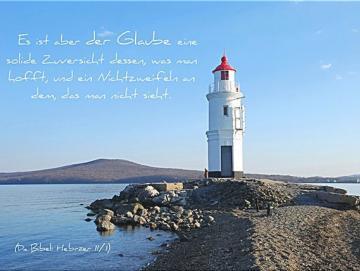 Christliches Poster A2 - Weißer Leuchtturm